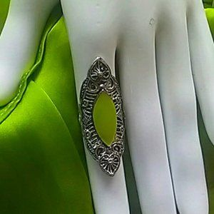 Pre-loved Silver-Tone Fashion Ring With Green Oval Accent Adjustable Sizing